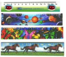 China PLASTICLENTICULAR high quality custom 3D Stationery lenticular ruler with 3d flip LOGO printing for promotion supplier