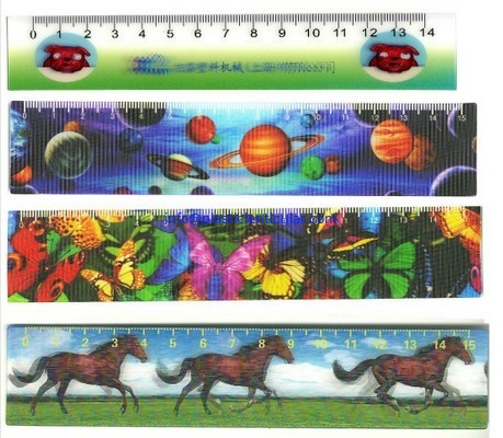 PLASTICLENTICULAR high quality custom 3D Stationery lenticular ruler with 3d flip LOGO printing for promotion
