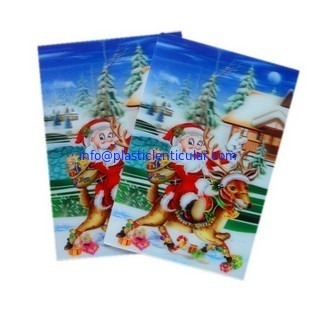 China PLASTIC LENTICULAR 3d kid toy PP PET flip lenticular sheet printing snowman greeting card factory