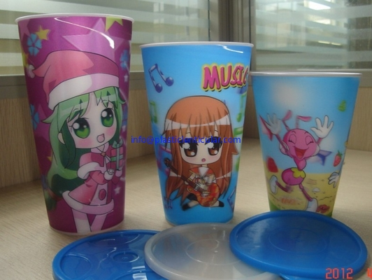 PLASTICLENTICULAR Food Grade Customized 3D lenticular Straw Cups plastic flip changing cup with Lid