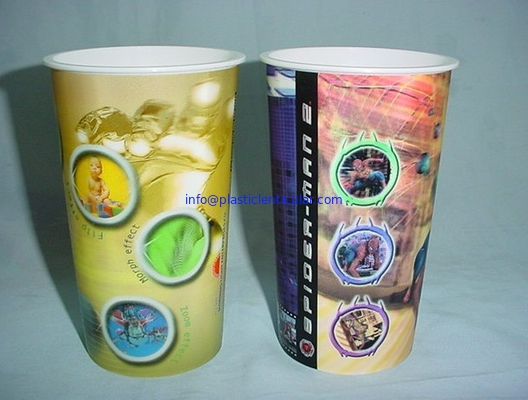 PLASTICLENTICULAR OEM 3D Lenticular PP plastic cup communion cup with 3d flip moving changing effect