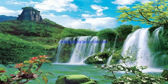 PLASTICLENTICULAR 3d 5d lenticular wall decoration waterfall scenery picture with moving motion flip effect